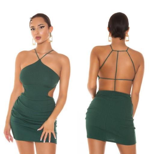 Vestido corto con tirantes verde    [3]