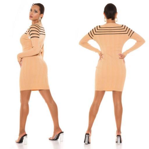 Vestido de punto con transparencia beige [2]