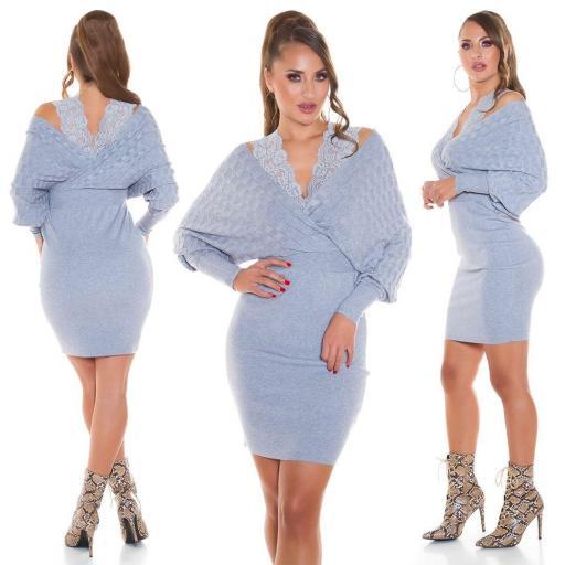 Vestido de punto con encaje gris