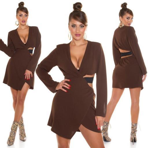 Vestido marrón envolvente