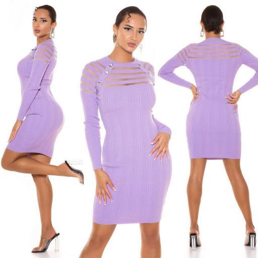 Vestido de punto con transparencia lila