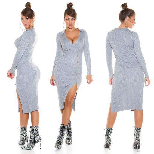 Vestido de punto atractivo gris