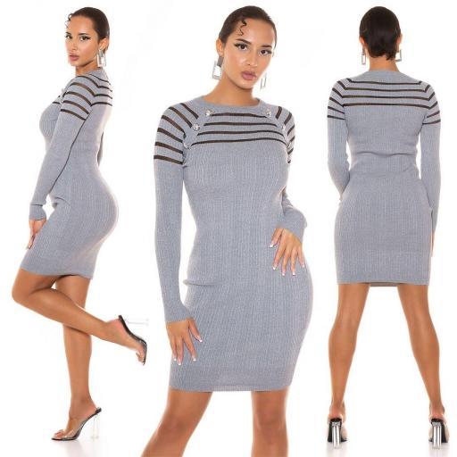 Vestido de punto con transparencia gris