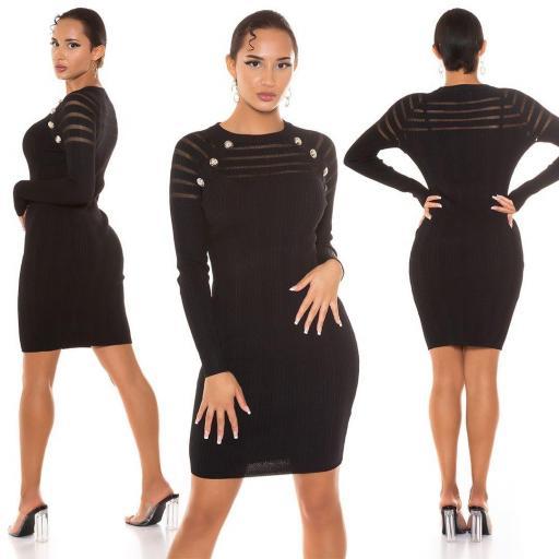 Vestido de punto con transparencia negro