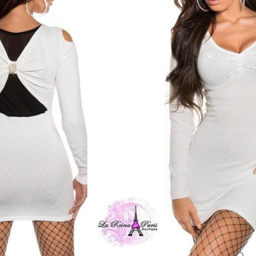 Vestido blanco de punto Estellebi