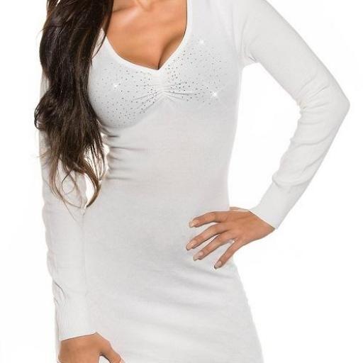 Vestido blanco de punto Estellebi  [2]