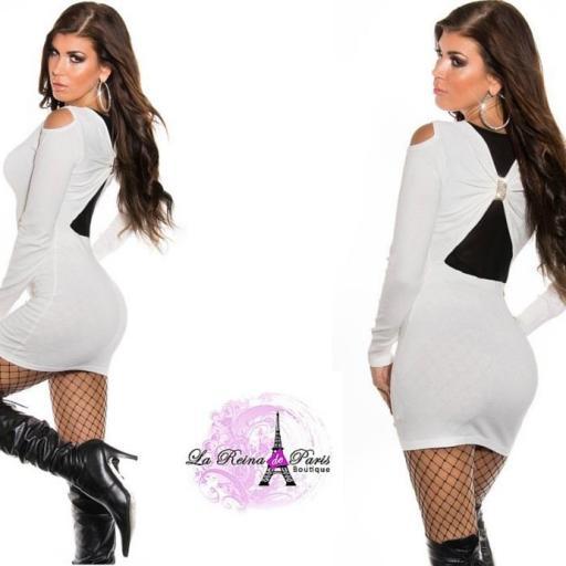Vestido blanco de punto Estellebi  [3]