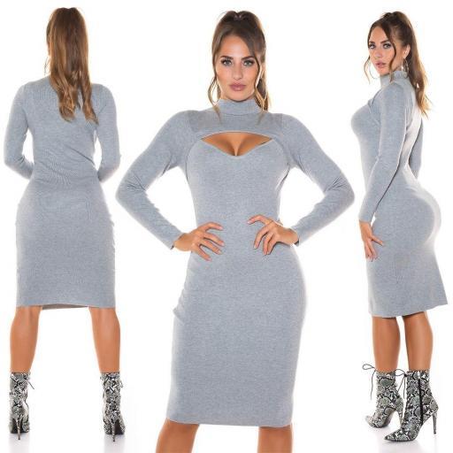 Vestido de punto gris espectacular