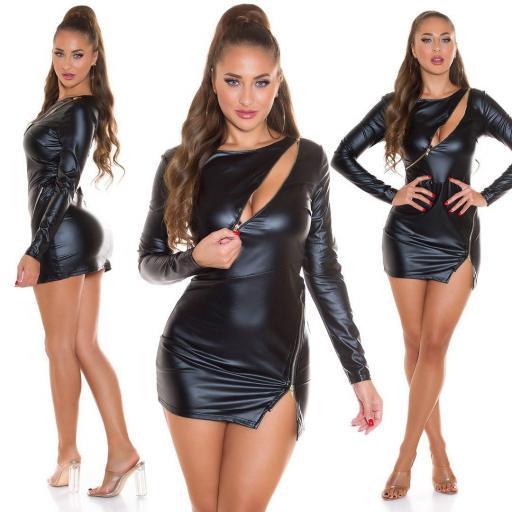 Vestido pegadito imitación piel negro