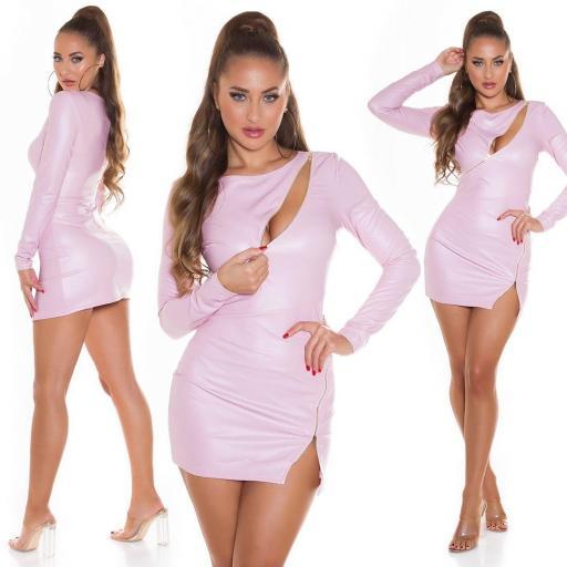 Vestido pegadito imitación piel rosa