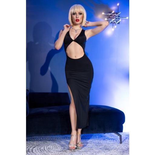 Sensual vestido largo elástico negro