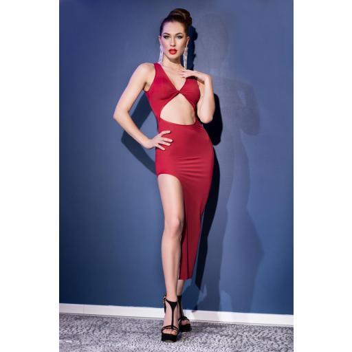 Sensual vestido largo elástico rojo