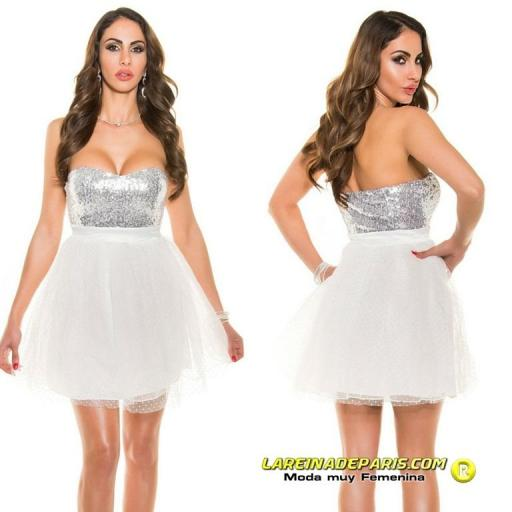 Vestido atractivo cocktail blanco