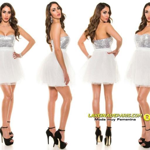 Vestido atractivo cocktail blanco [1]