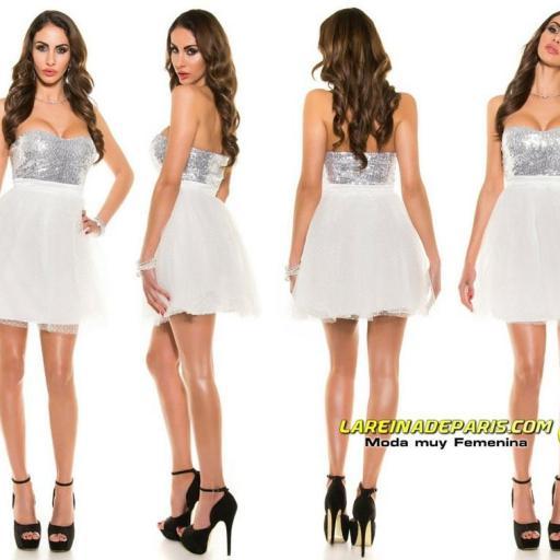 Vestido atractivo cocktail blanco [3]