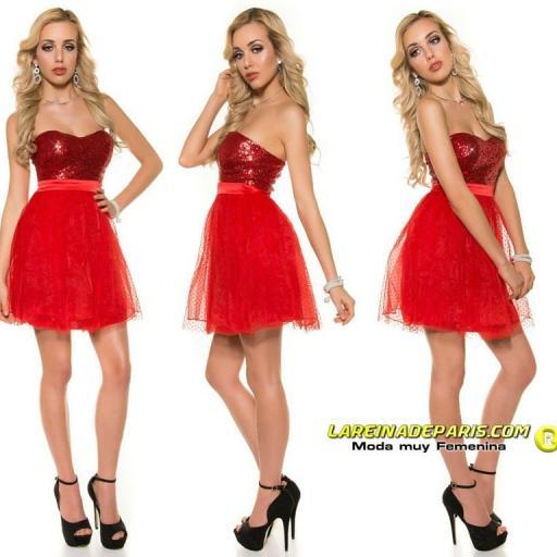 Vestido elegante cocktail rojo [2]