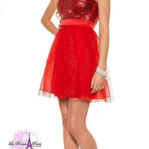Vestido elegante cocktail rojo [1]