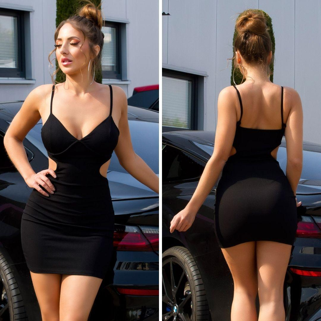 Vestido ajustado negro con aberturas
