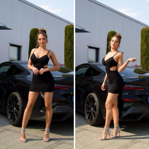 Vestido ajustado negro con aberturas [2]