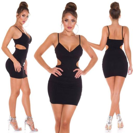 Vestido ajustado negro con aberturas [3]