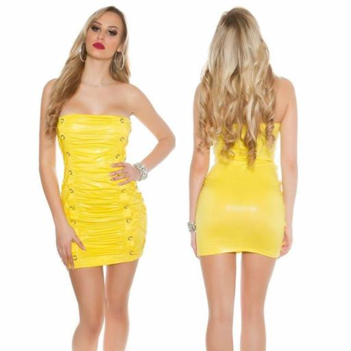 Vestido corto ajustado Sylvette amarillo