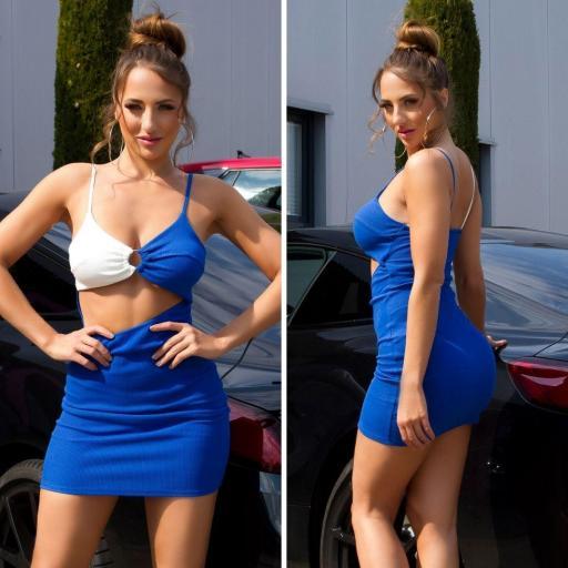 Vestido abertura frontal azul