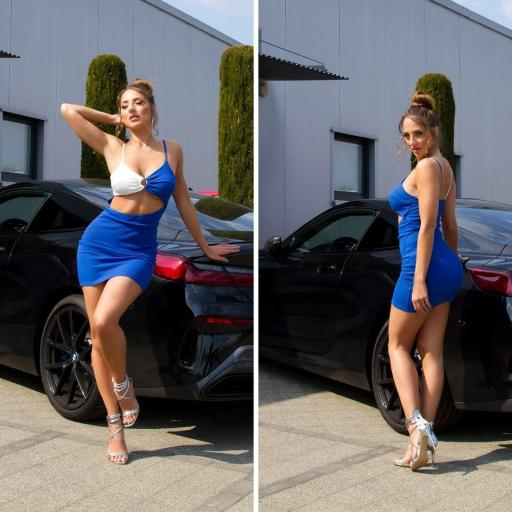 Vestido abertura frontal azul  [1]