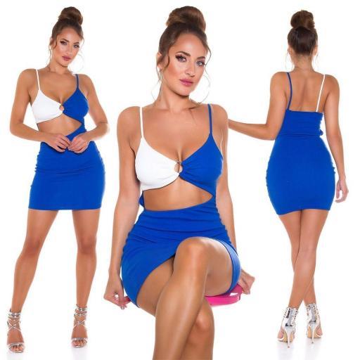 Vestido abertura frontal azul  [2]