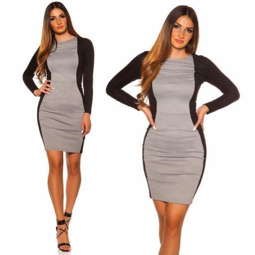Vestido corto gris ajustado al cuerpo [2]