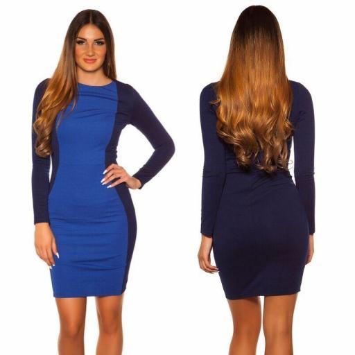 Vestido corto azul ajustado al cuerpo