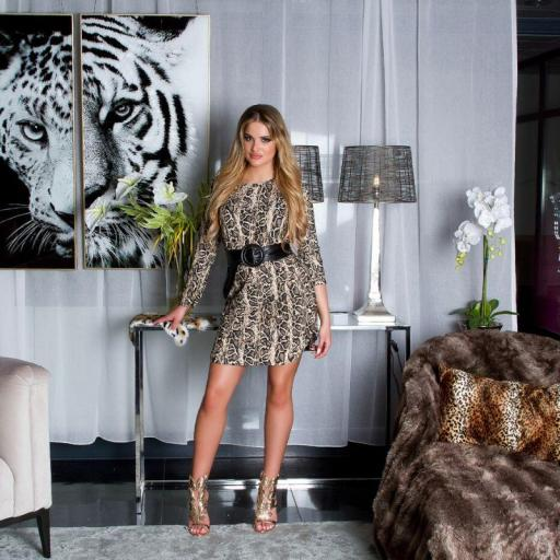Vestido holgado de animal print