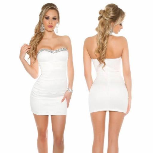 Vestido bandeau con pedrería blanco