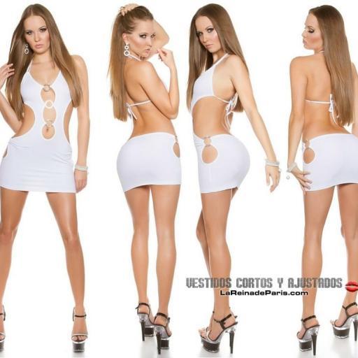 Mini vestido blanco ajustado al cuerpo  [1]