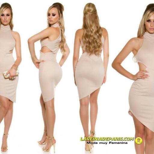 Vestido de moda ceñido asimétrico beige  [1]