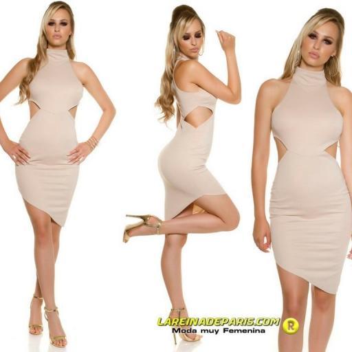 Vestido de moda ceñido asimétrico beige  [2]