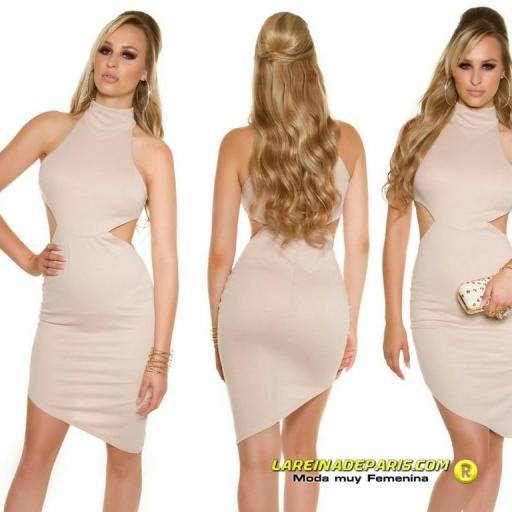 Vestido de moda ceñido asimétrico beige