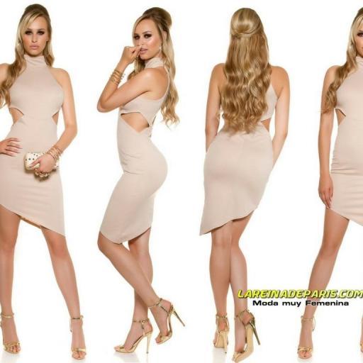 Vestido de moda ceñido asimétrico beige  [3]