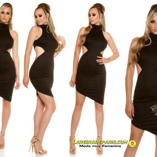 Vestido de moda asimétrico negro [1]