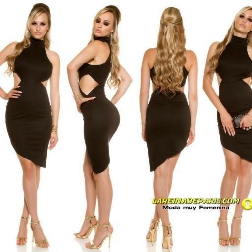 Vestido de moda asimétrico negro [2]