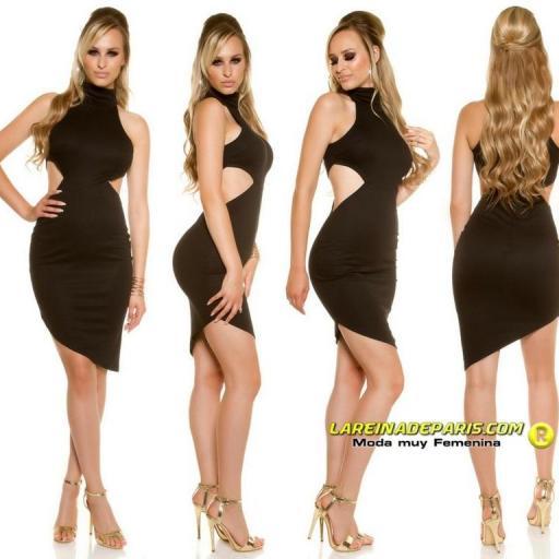 Vestido de moda asimétrico negro [3]
