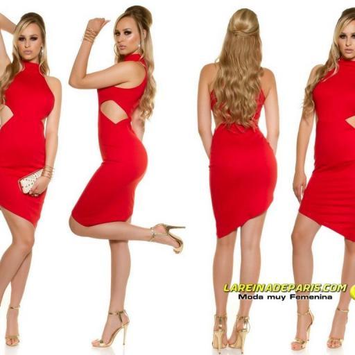 Vestido de moda sensual asimétrico rojo  [1]