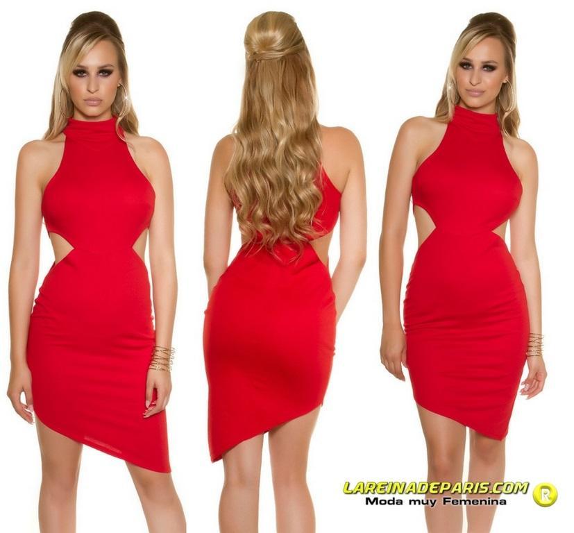 Vestido de moda sensual asimétrico rojo