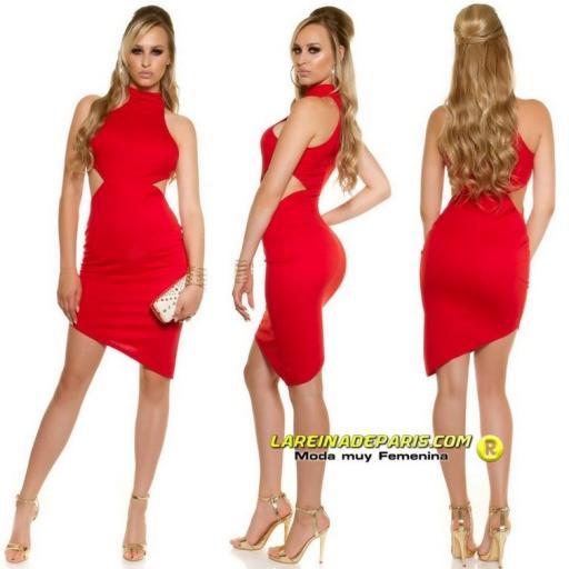 Vestido de moda sensual asimétrico rojo  [2]
