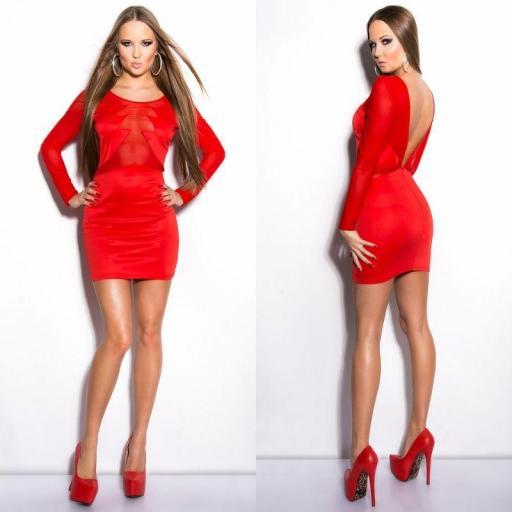 Vestido rojo recortes transparentes   [1]