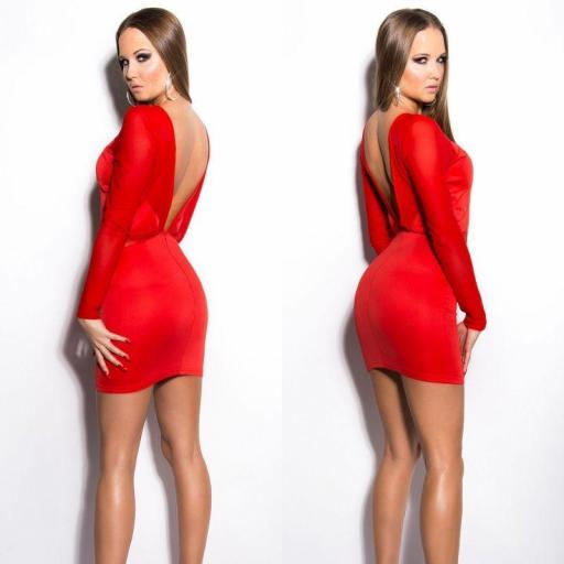 Vestido rojo recortes transparentes   [2]