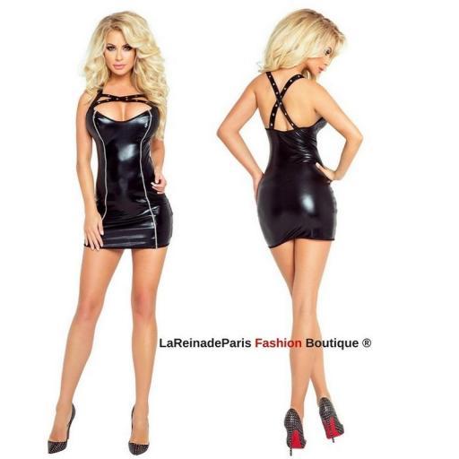 Vestido ajustado metalizado negro
