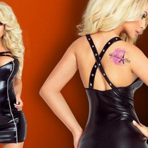 Vestido ajustado metalizado negro [3]