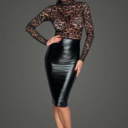 Vestido ajustado cuero y encaje negro [0]