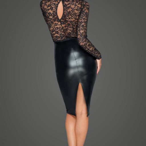 Vestido ajustado cuero y encaje negro [1]