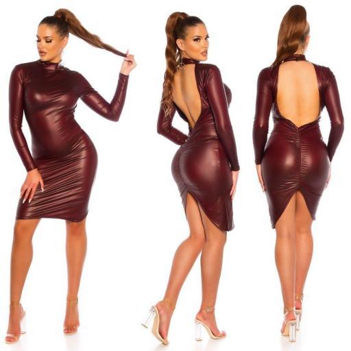 Vestido espalda desnuda ajustado burdeos [2]